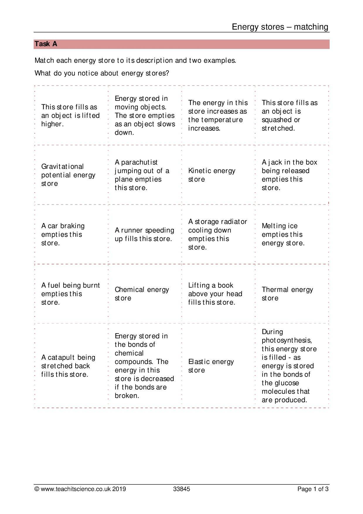 Introduction to Energy Worksheet Ks3 Energy Ks3