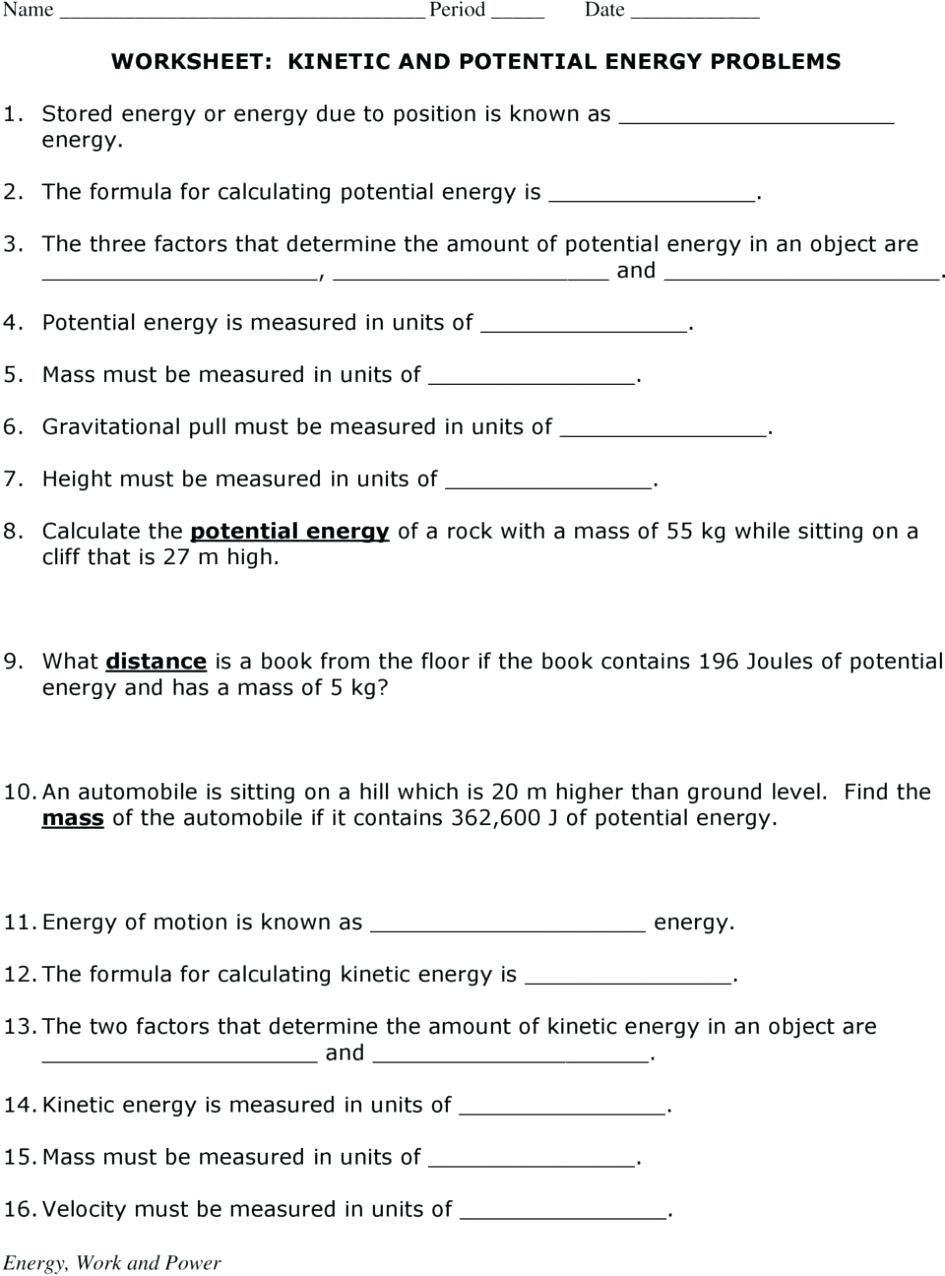 Introduction to Energy Worksheet Potential and Kinetic Energy Worksheet Nidecmege