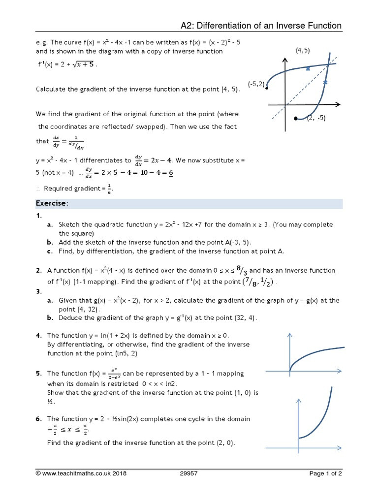 Inverse Functions Worksheet with Answers Differentiation Of Inverse Functions