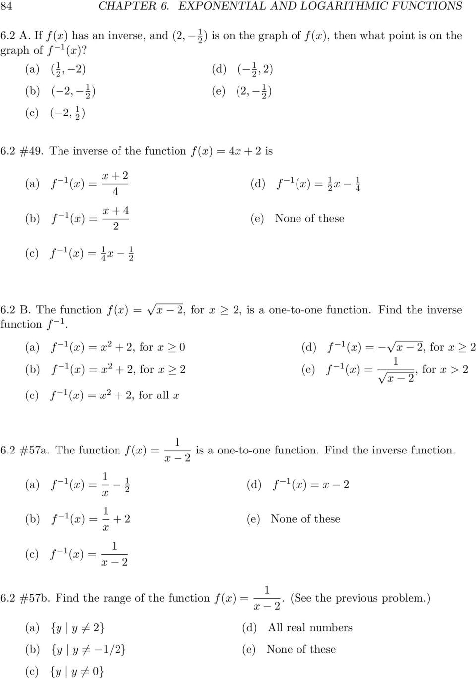 Inverse Functions Worksheet with Answers Exponential and Logarithmic Functions Pdf Free Download