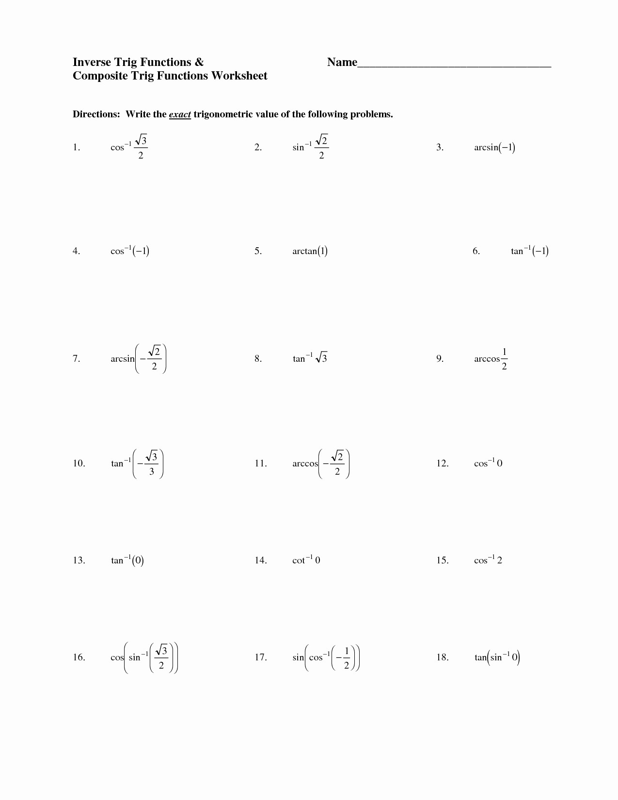 Inverse Functions Worksheet with Answers Inverted Sentence Worksheet