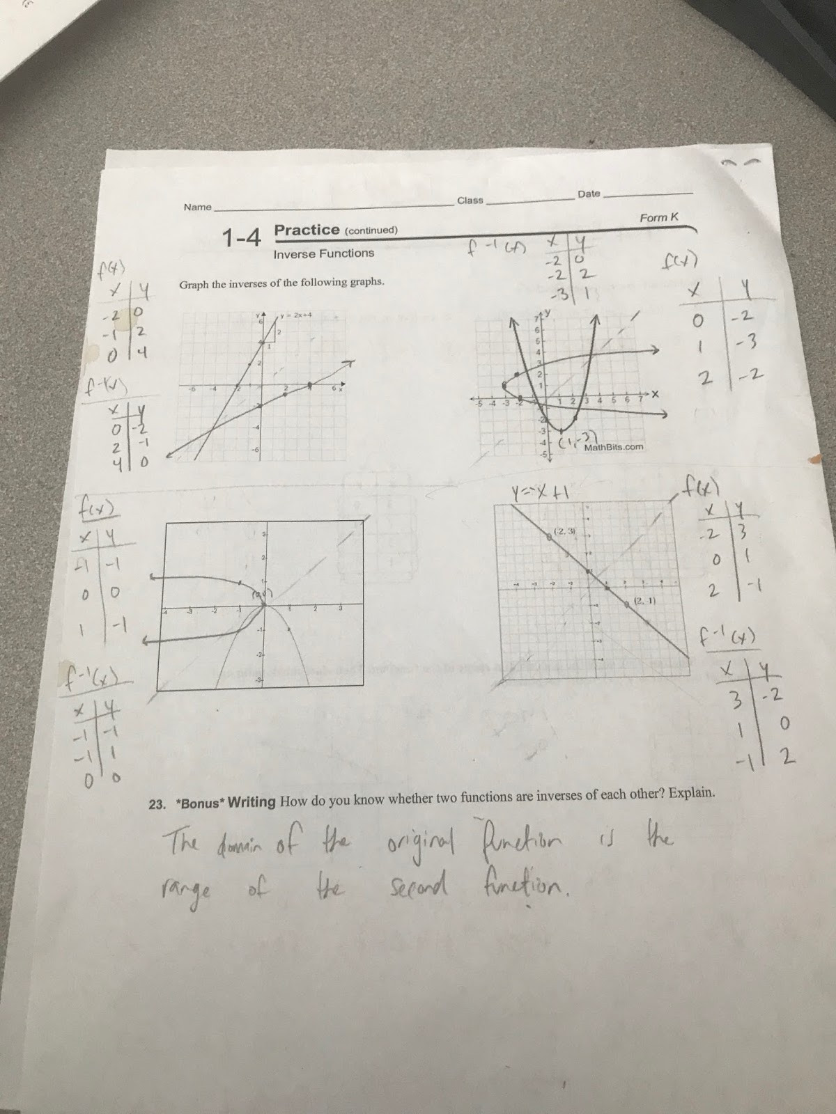 Inverse Functions Worksheet with Answers Ms Garza S Alg 2 Class 2017 2018 Inverse Worksheet Answer