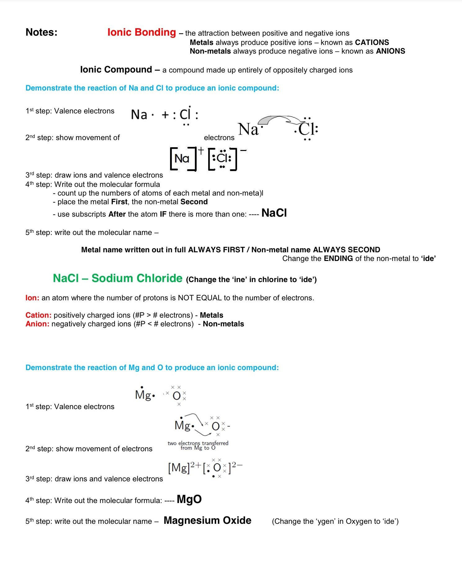 Ionic Bonding Worksheet Key Ionic Bonding Note November 14 2017