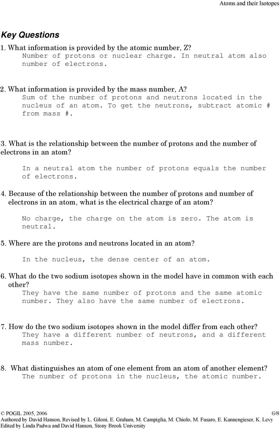 Isotope Practice Worksheet Answer Key Instructors Guide atoms and their isotopes Pdf Free Download