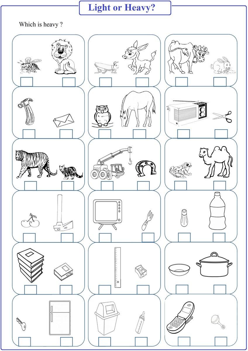 Kindergarten Math Worksheet Pdf Heavy or Light Worksheet Pdf Free Math Worksheets