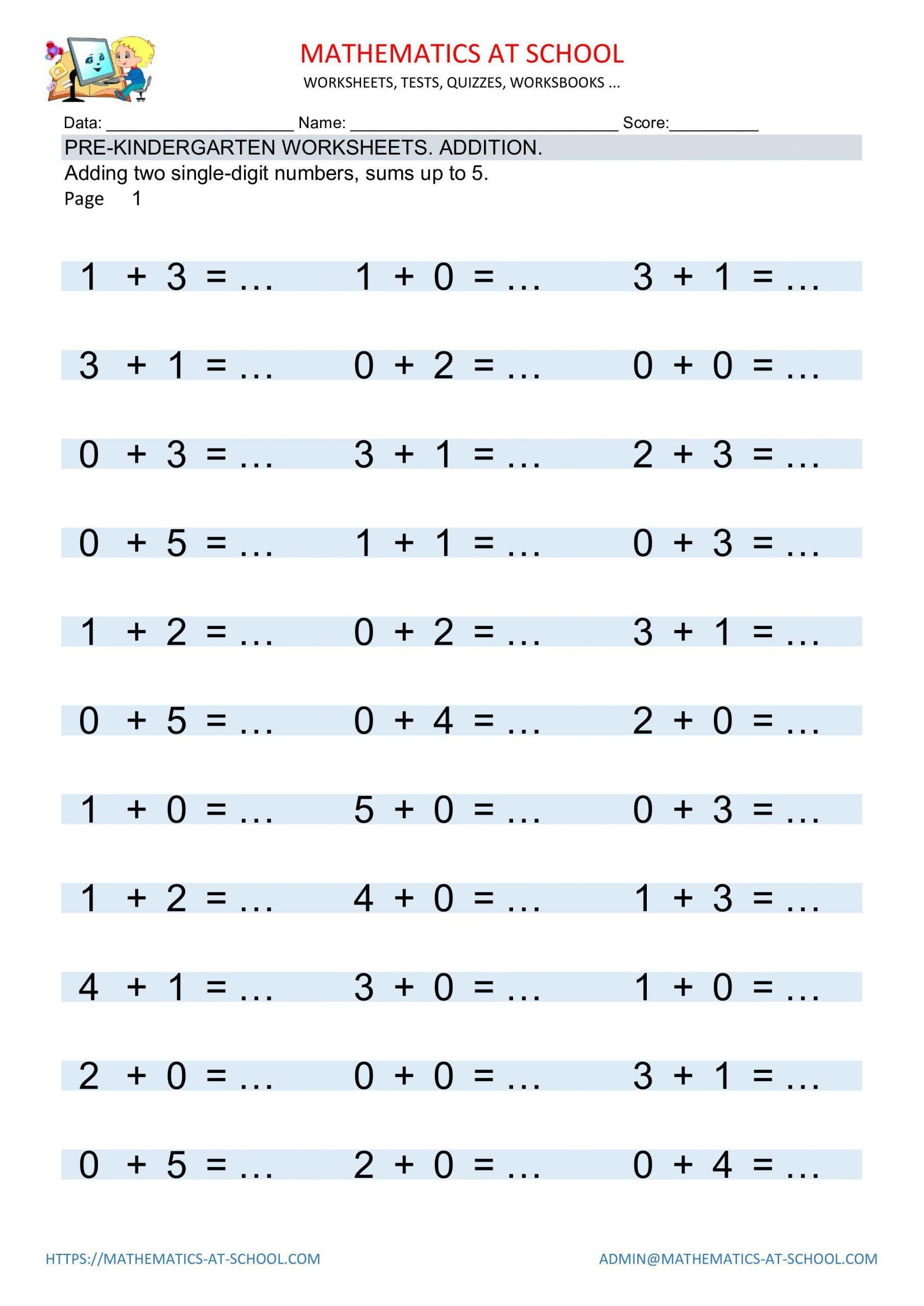 Kindergarten Math Worksheet Pdf Pre Kindergarten Math Worksheets Addition and Subtraction