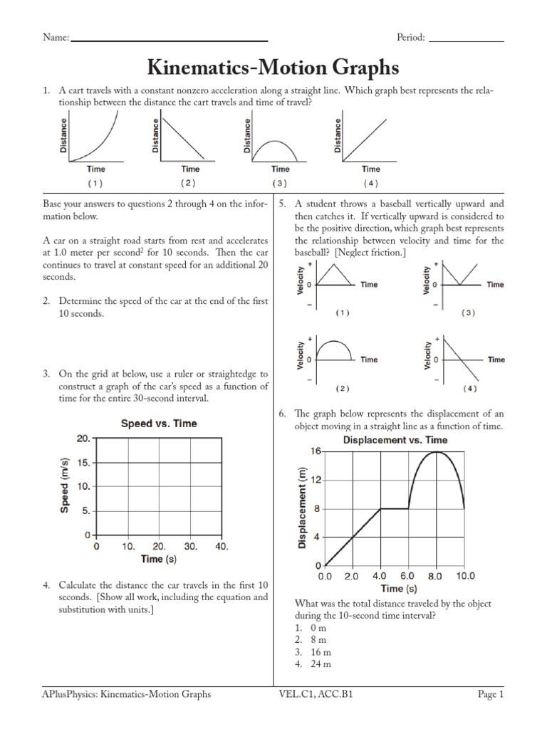 Kinematics Worksheet with Answers 3 Kinematics Motion Graphs Acceleration