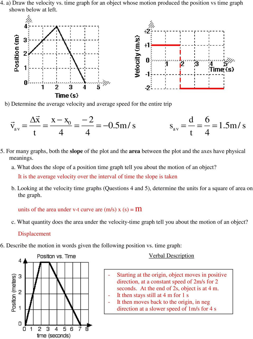 Kinematics Worksheet with Answers Graphing Motion Kinematics Worksheet Worksheet List