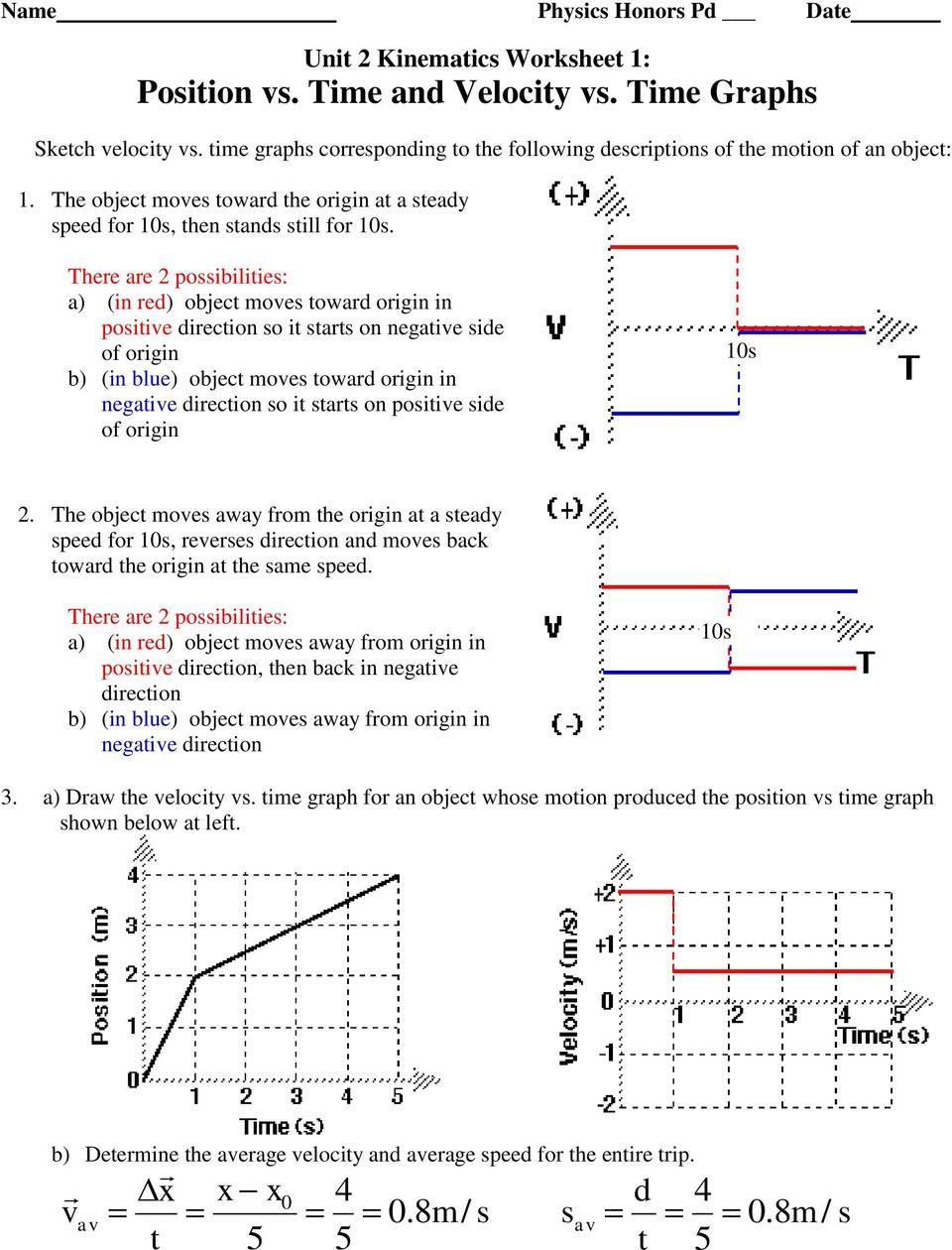 Kinematics Worksheet with Answers Kinematics Worksheet 1 Answers Worksheet List