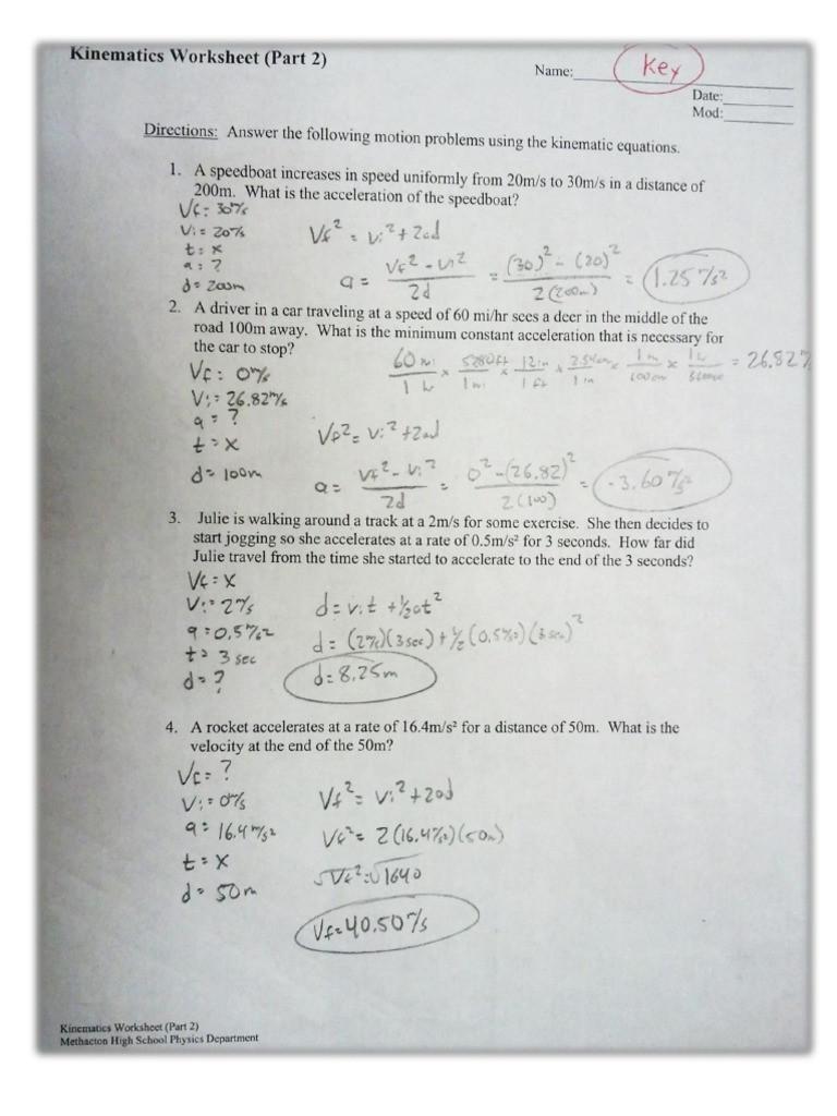 Kinematics Worksheet with Answers Kinematics Worksheet Part 2 Answer Key 1 Pdf