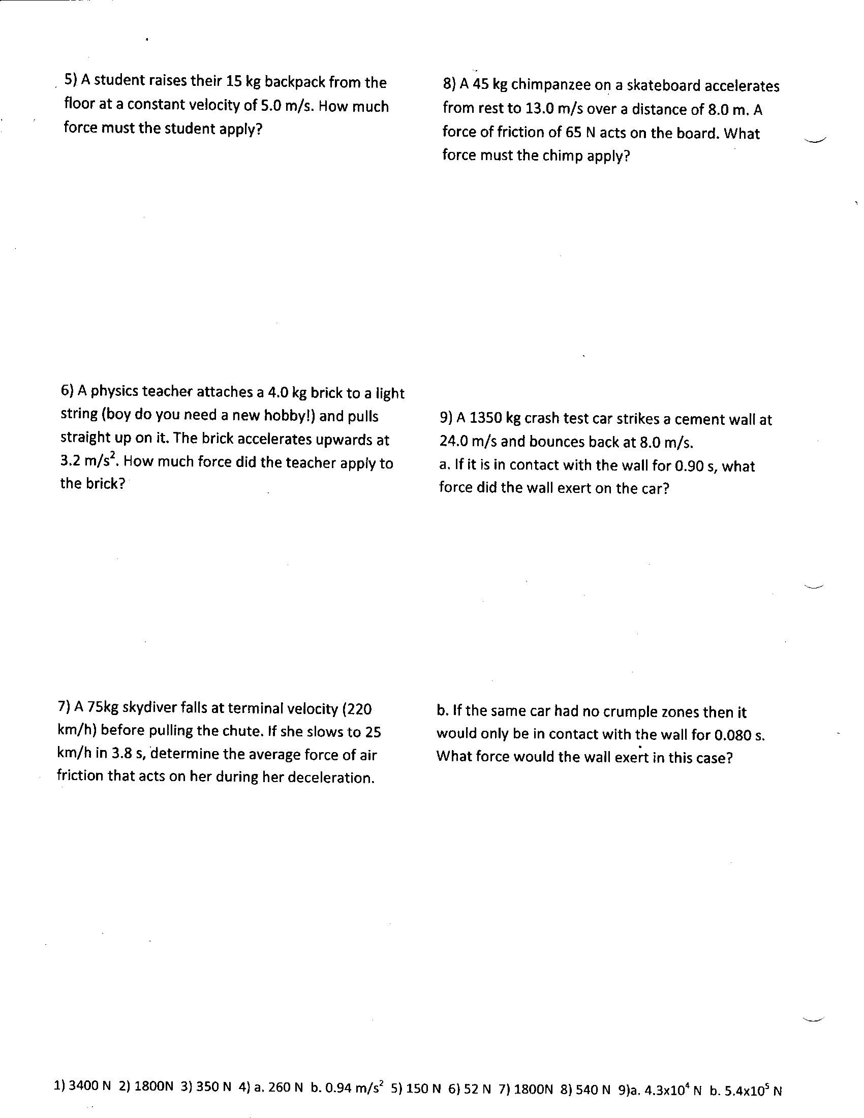 Kinematics Worksheet with Answers Physics 11 2017 force Worksheets