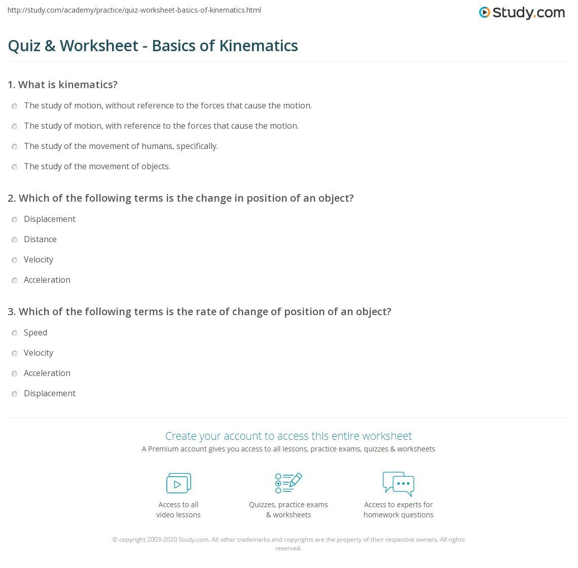 Kinematics Worksheet with Answers Quiz & Worksheet Basics Of Kinematics