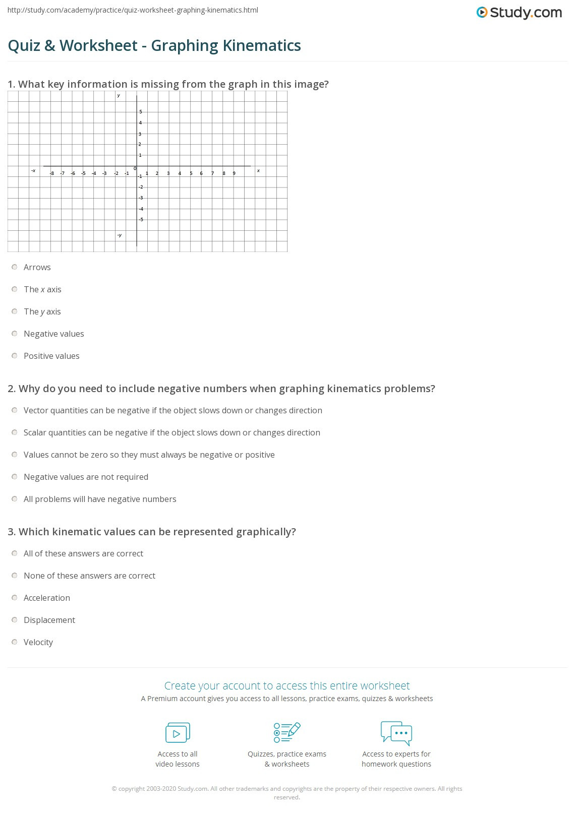 Kinematics Worksheet with Answers Quiz & Worksheet Graphing Kinematics