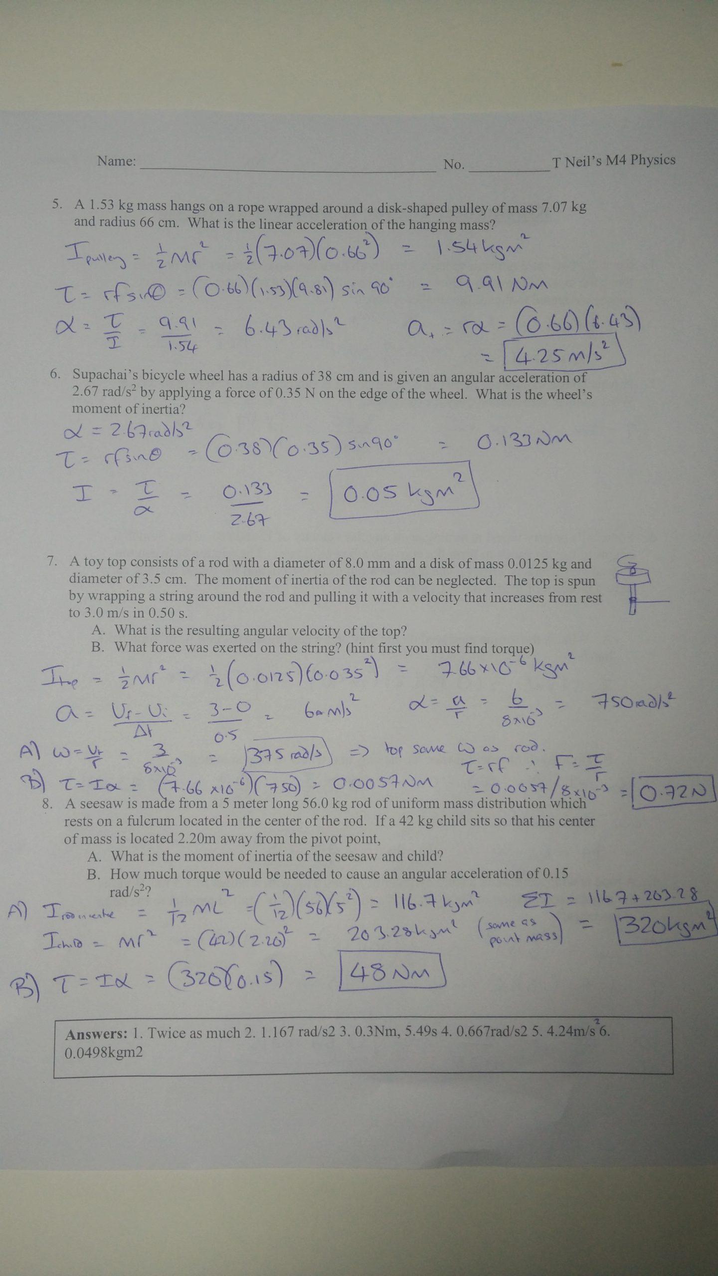Kinematics Worksheet with Answers Rotational Kinematics Worksheets