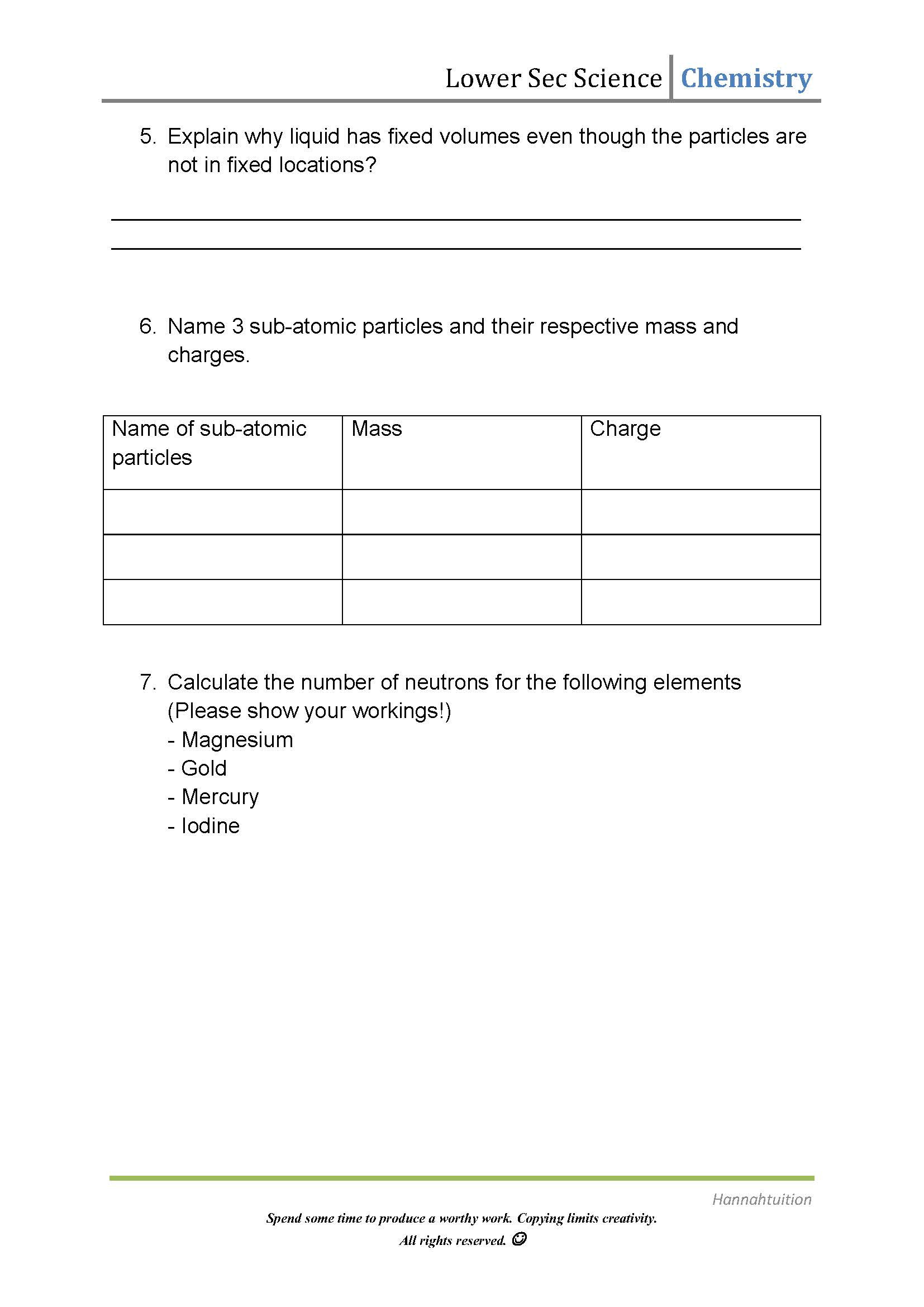 Kinetic Molecular theory Worksheet Sec 1 Science Kinetic Particle theory and atoms Chemistry