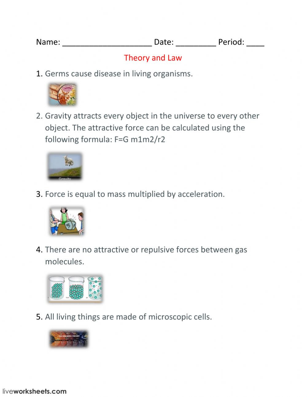 Kinetic Molecular theory Worksheet theory and Law Interactive Worksheet