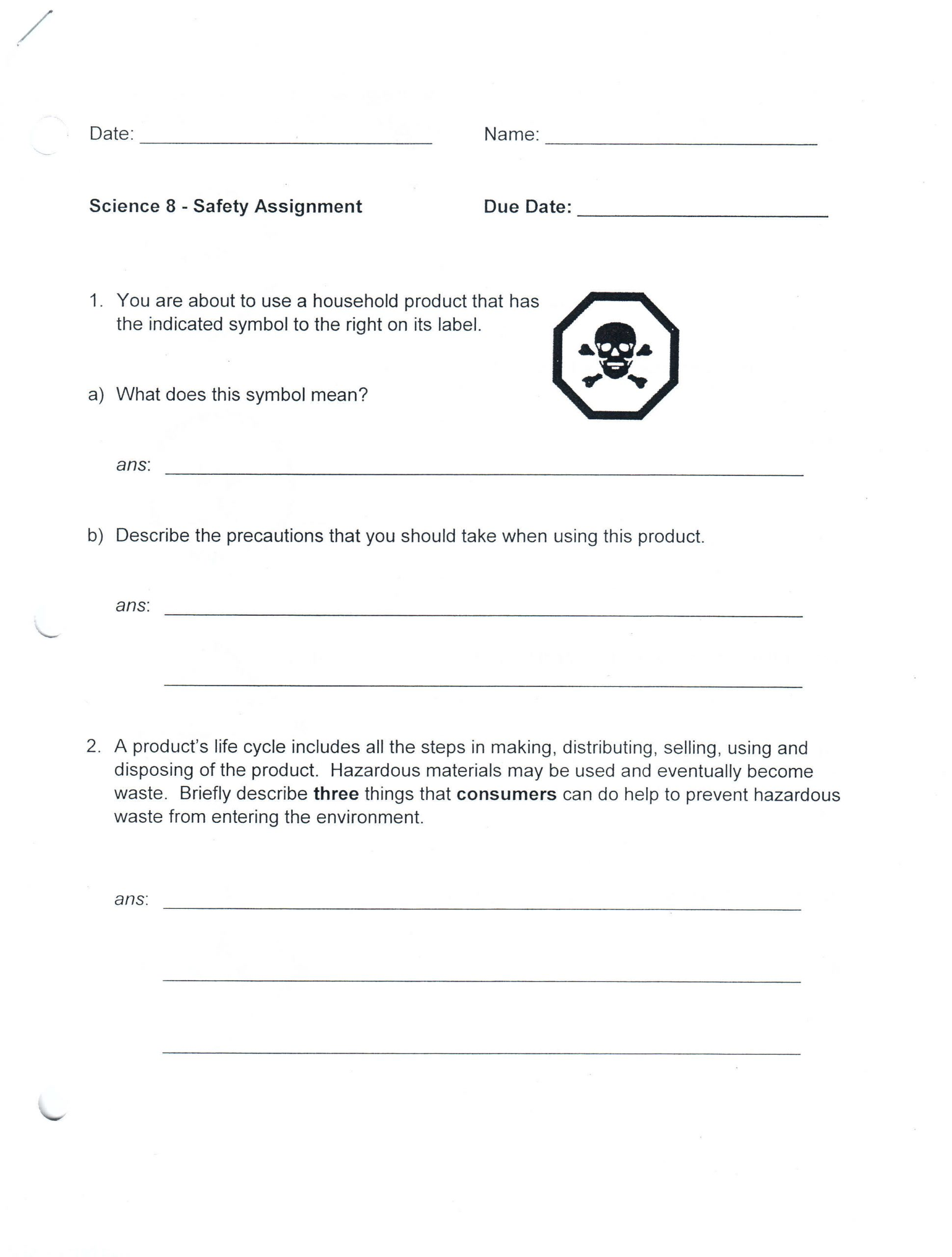 Lab Safety Symbols Worksheet Science 8 Mara Benson S Courses