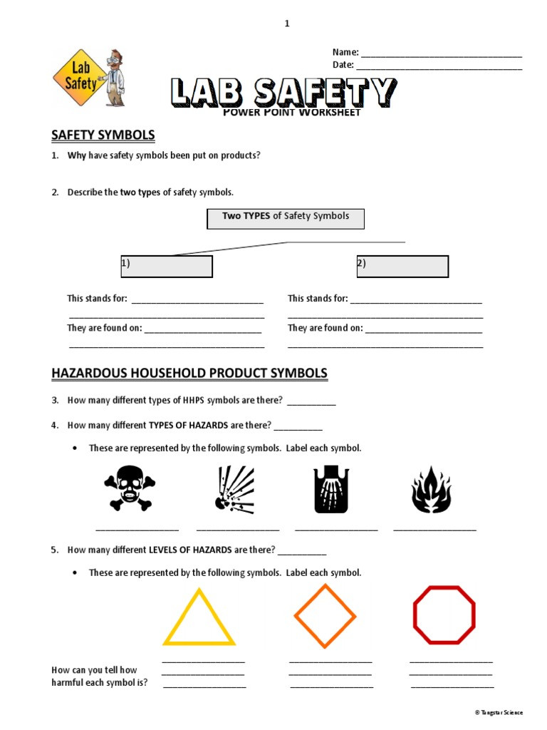 Lab Safety Worksheet Pdf 15 Lab Safety Powerpoint Worksheet