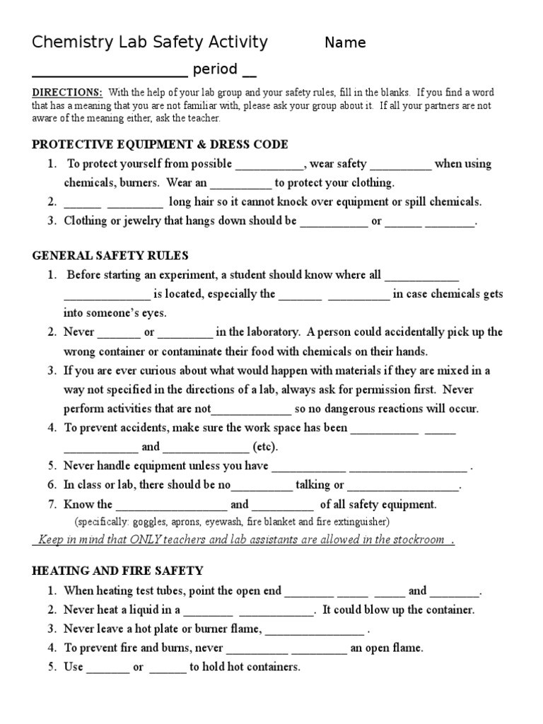 Lab Safety Worksheet Pdf Chemistry Lab Safety Activity Laboratories