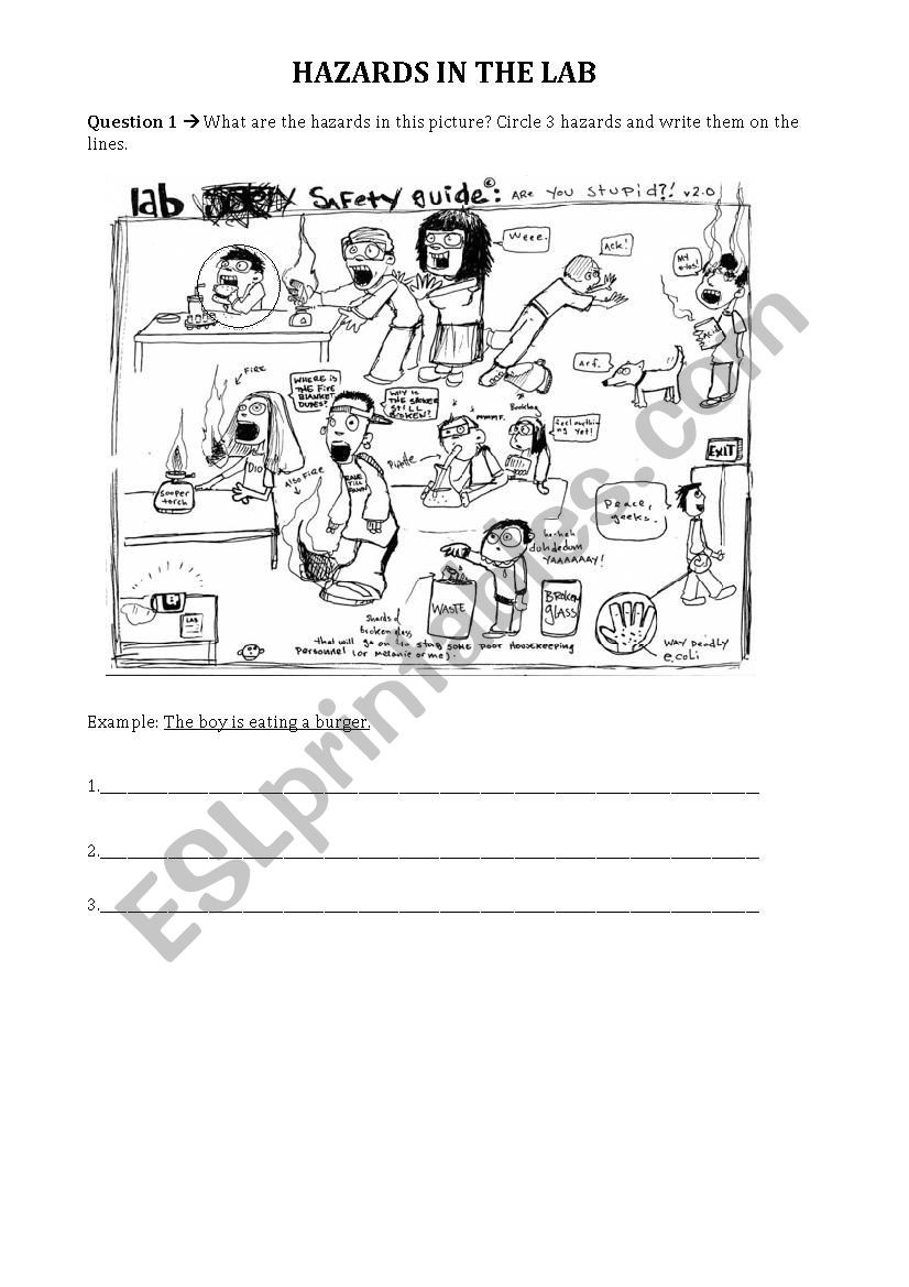 Lab Safety Worksheet Pdf Hazards In the Lab Science Lab Safety Esl Worksheet by