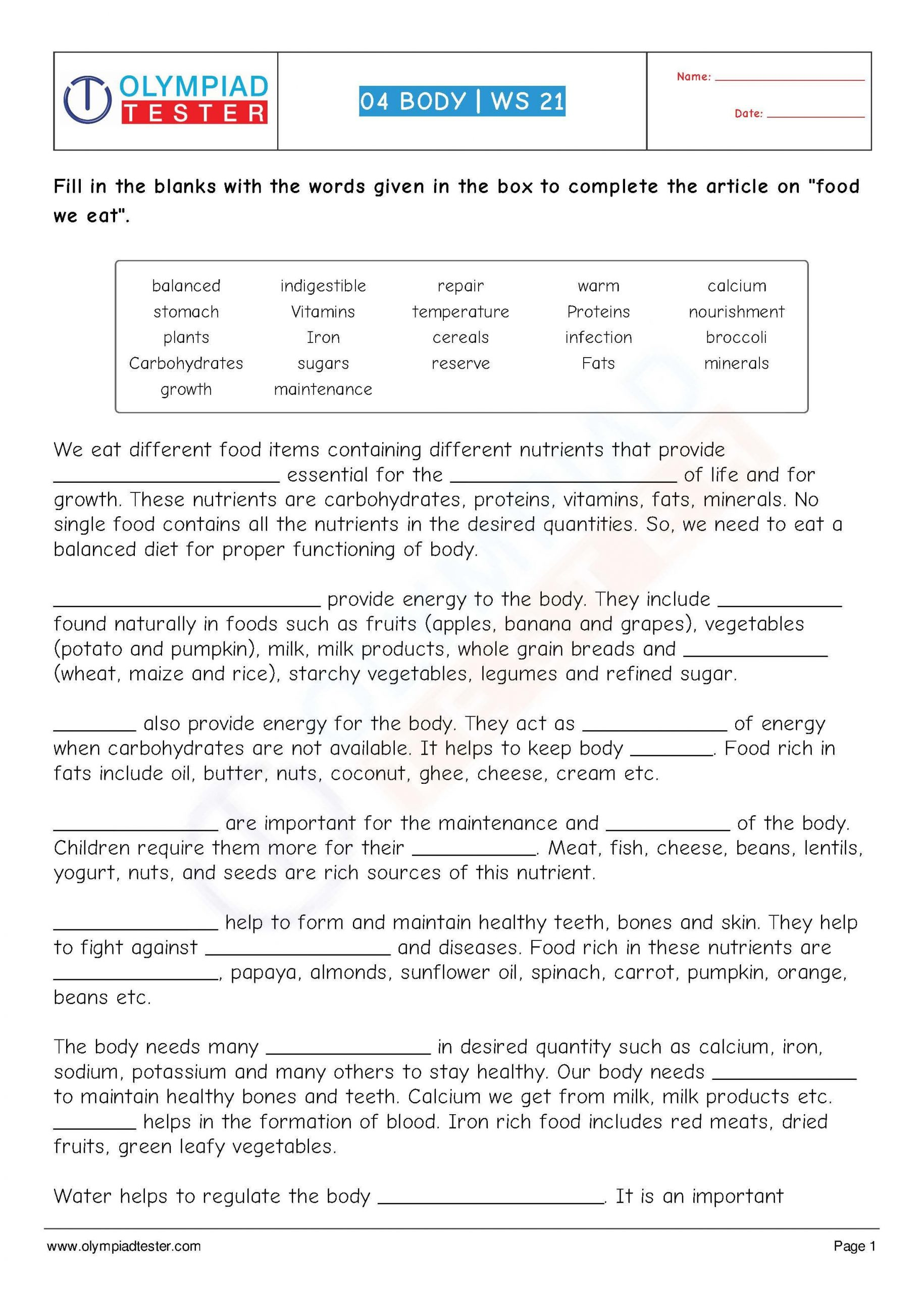 Language Of Science Worksheet Class 4 Science Human Body Worksheet 21