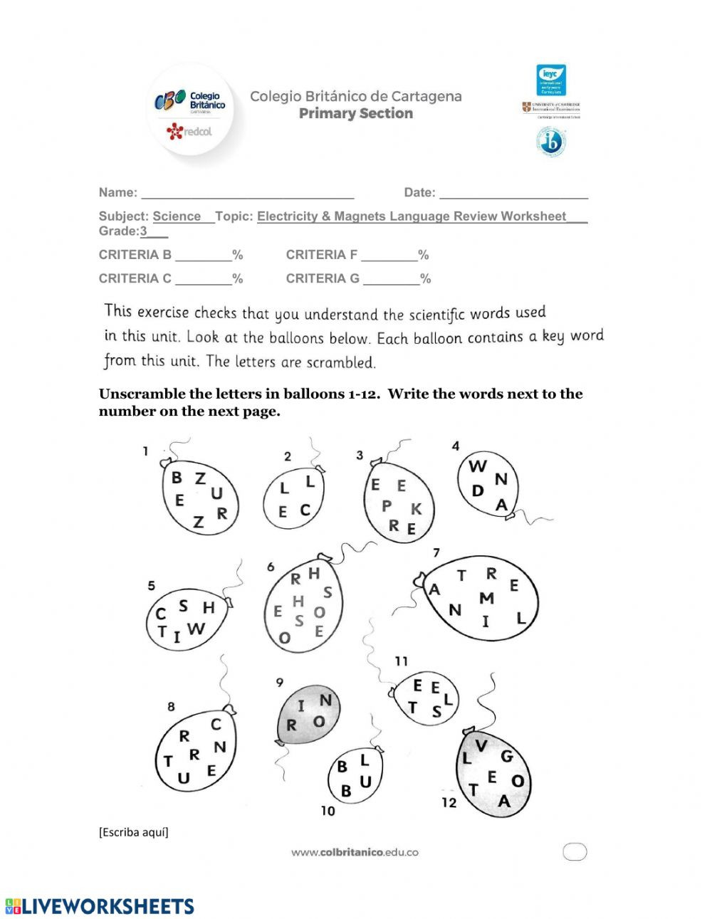Language Of Science Worksheet Electricty and Magnetic Language Review Worksheet