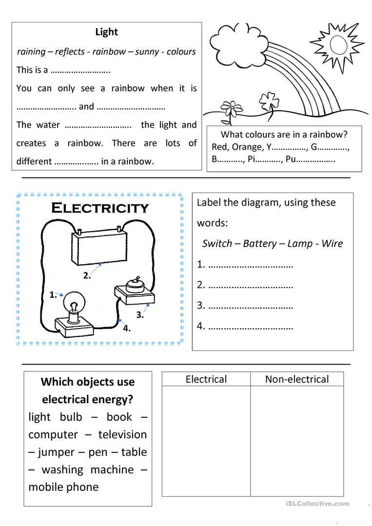 Language Of Science Worksheet Science Light and Electricity English Esl Worksheets for