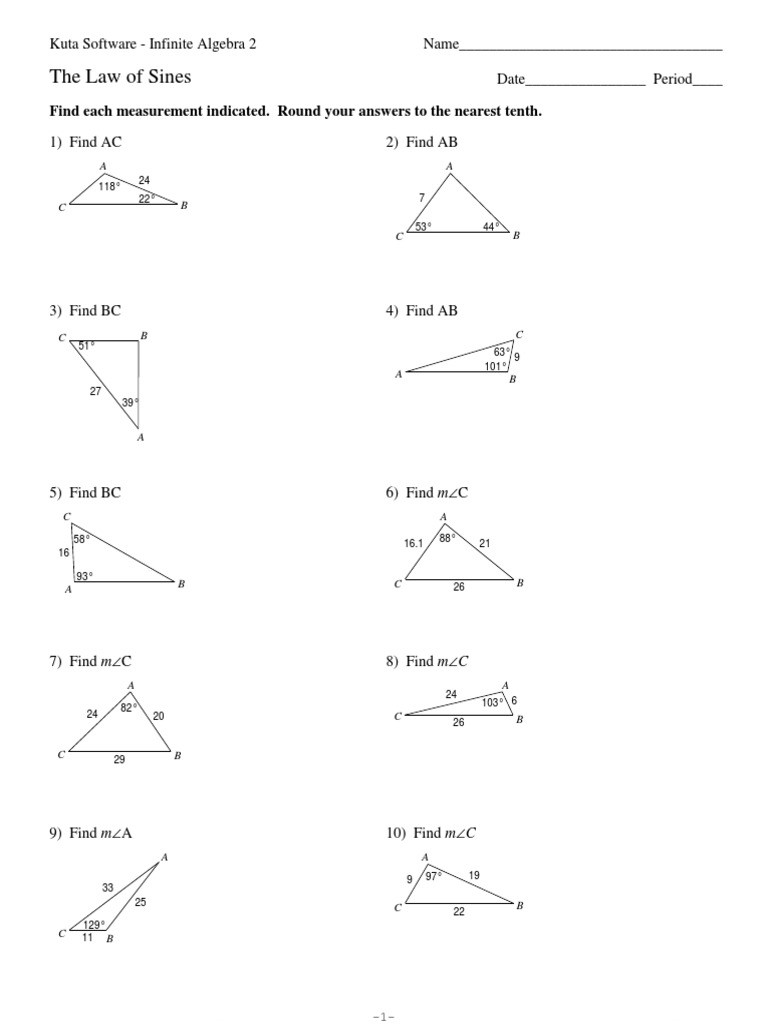 Law Of Sines Worksheet Answers Law Of Sines Pdf Euclidean Plane Geometry
