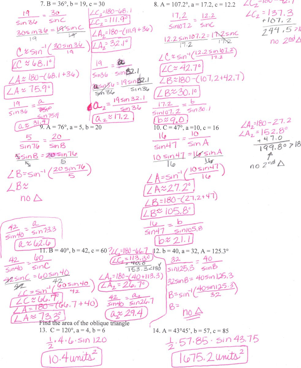 """Law Of Sines Worksheet Answers Sandy Kouns On Twitter """"6 1 Law Of Sines Worksheet Answers"""