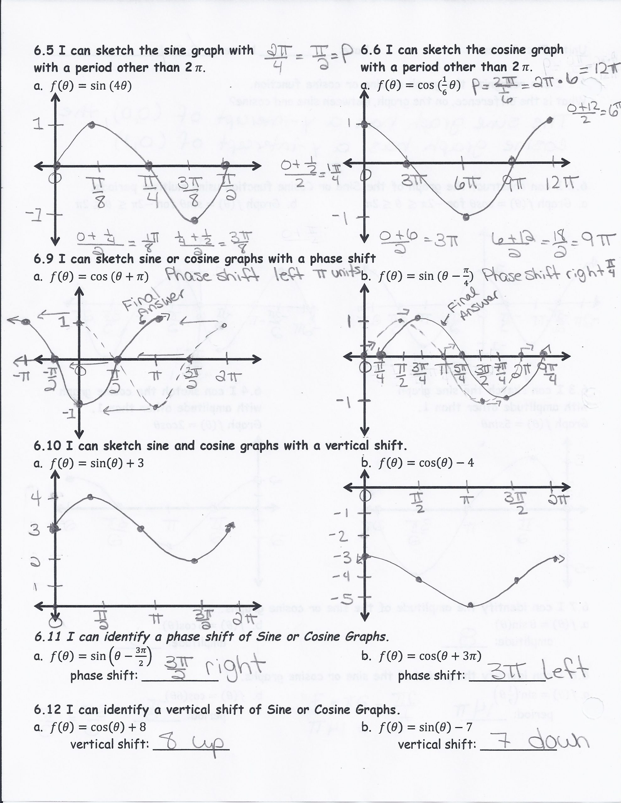 Law Of Sines Worksheet Answers the Cosine Function Worksheet