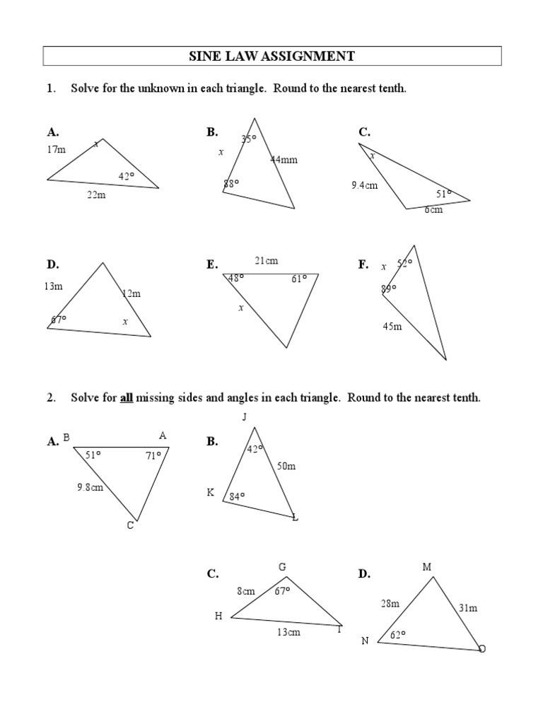 Law Of Sines Worksheet Sine Law Worksheet Euclidean Plane Geometry