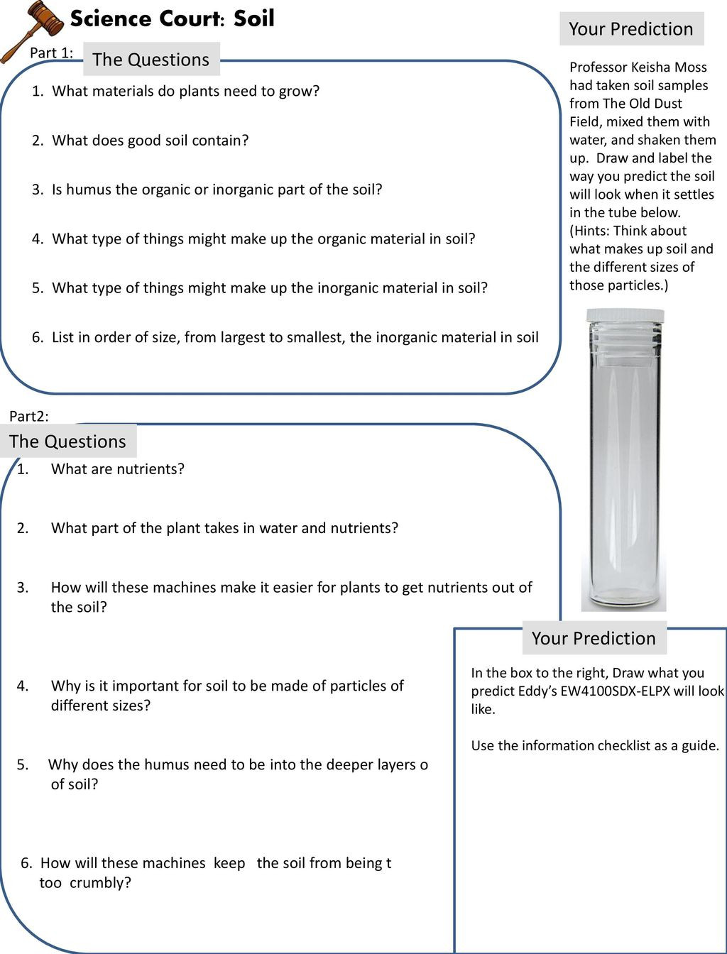 Layers Of soil Worksheet Science Court soil Your Prediction the Questions the