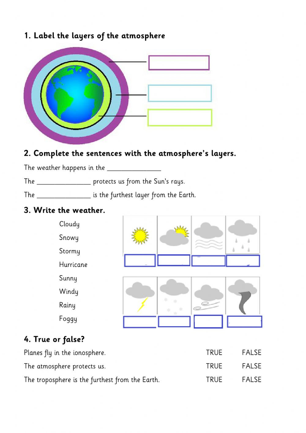 Layers Of the atmosphere Worksheet Layers Of the atmosphere Interactive Worksheet