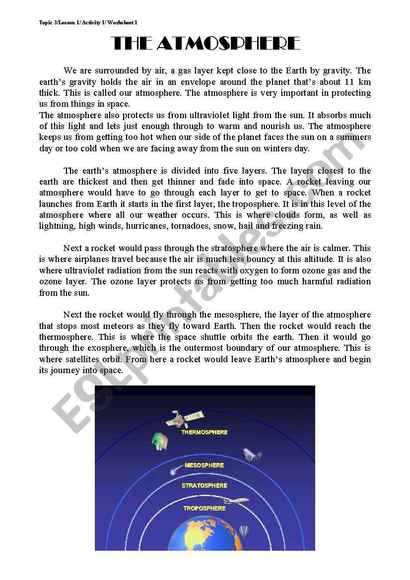 Layers Of the atmosphere Worksheet the atmosphere Esl Worksheet by sonamar