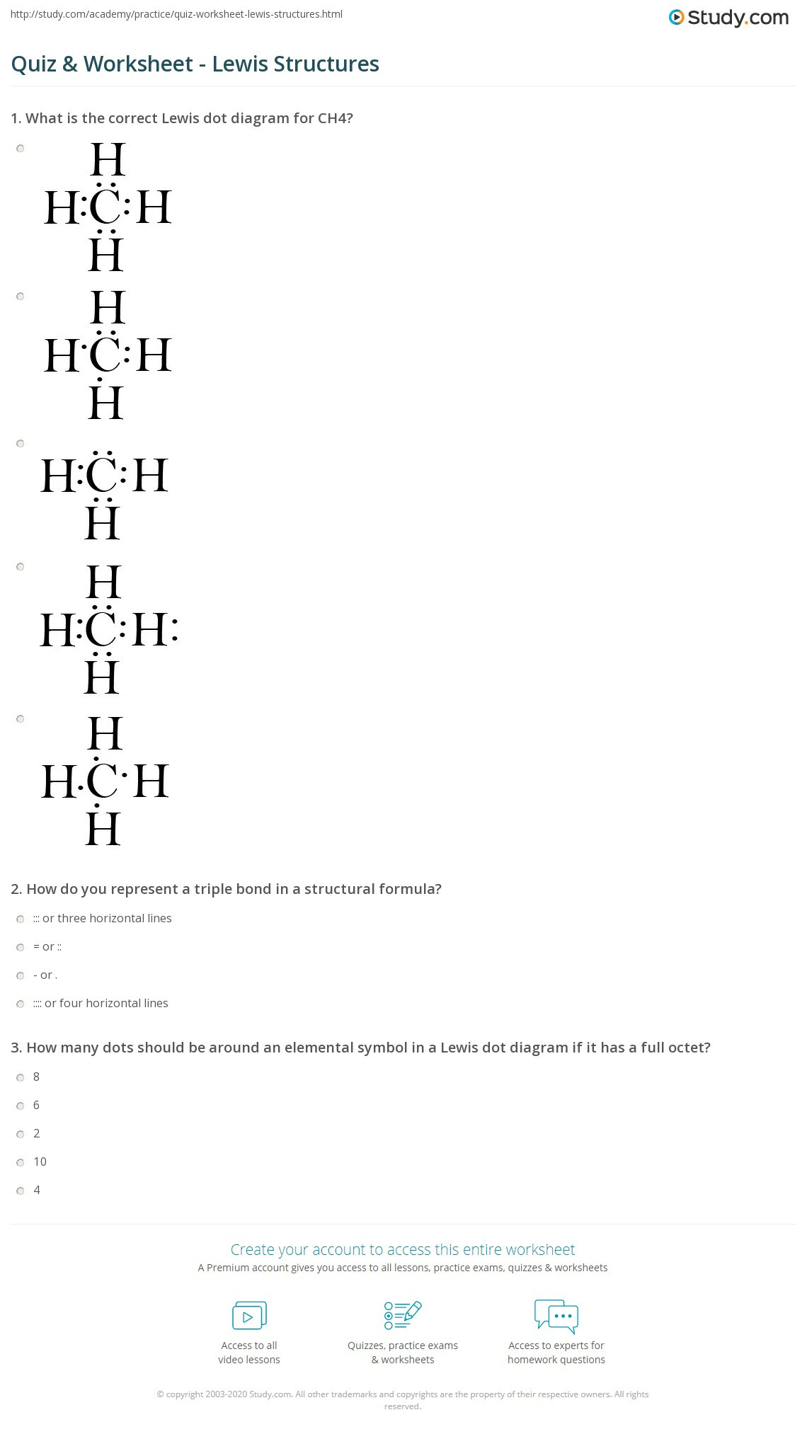 Lewis Dot Diagram Worksheet Quiz & Worksheet Lewis Structures
