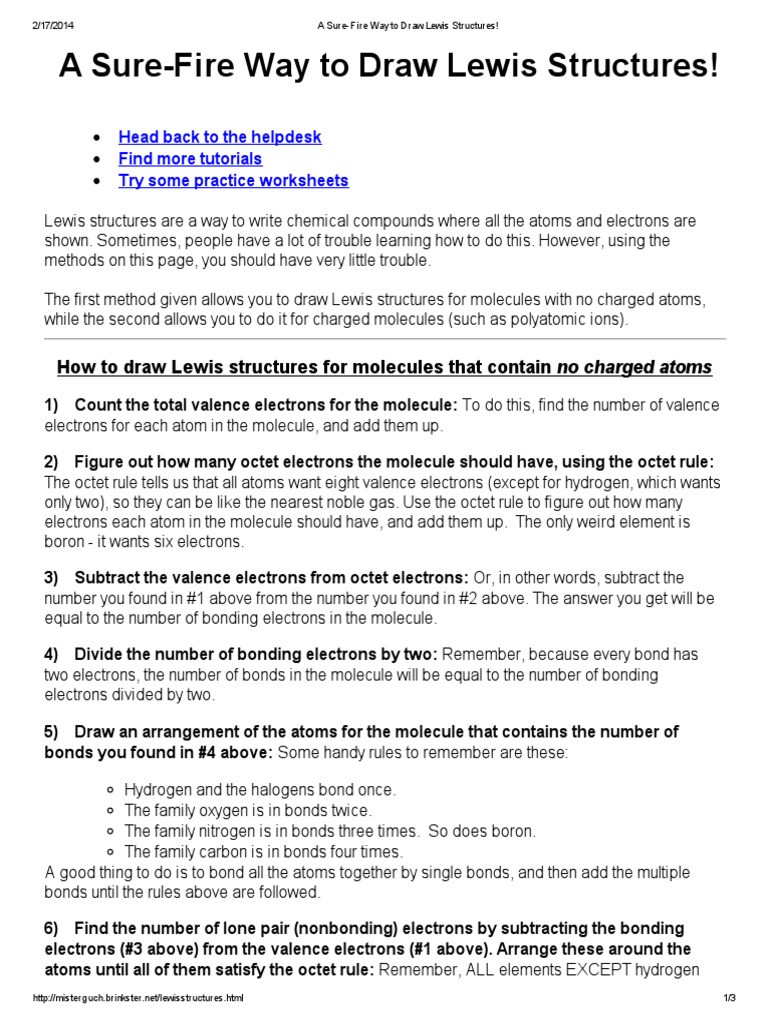Lewis Structure Practice Worksheet A Sure Fire Way to Draw Lewis Structures Head Back to the