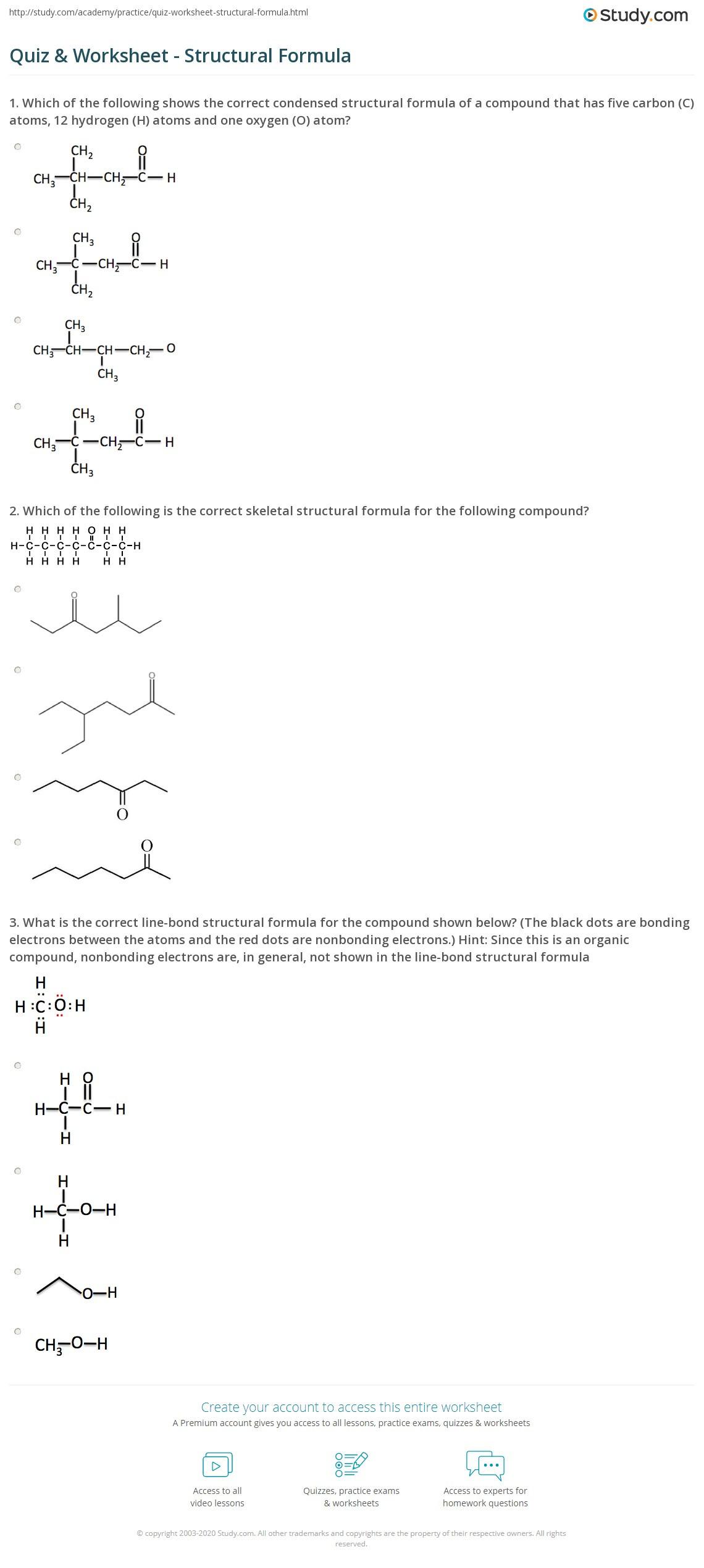 Lewis Structure Practice Worksheet Quiz & Worksheet Structural formula