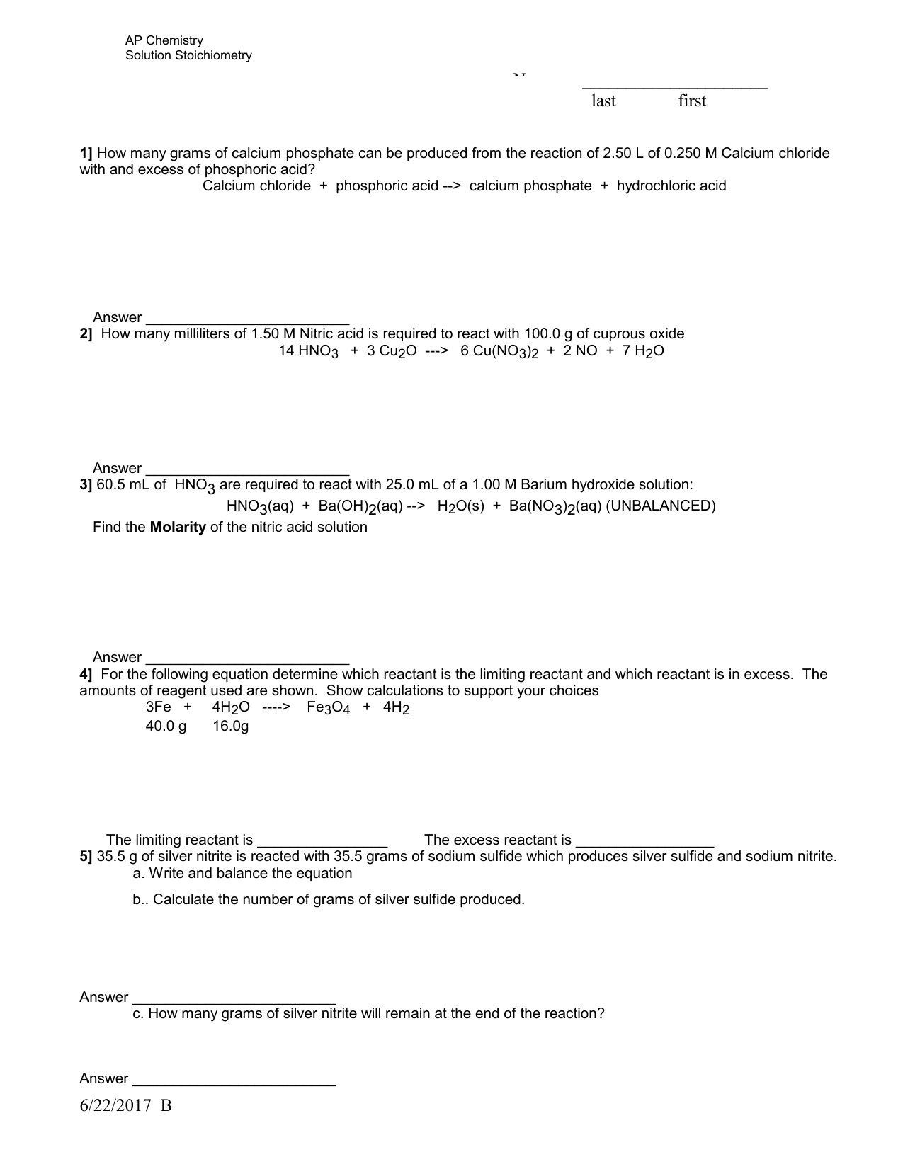 Limiting Reactant Worksheet Answers Limiting Reagent Worksheet Answers