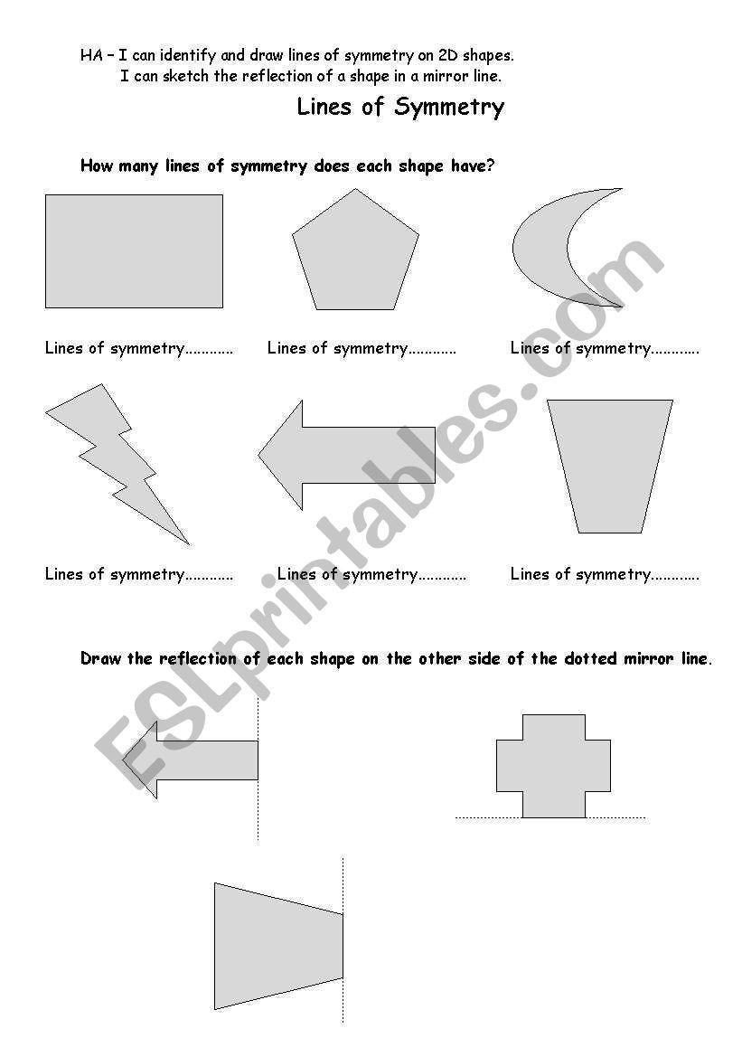 Line Of Symmetry Worksheet English Worksheets Symmetry