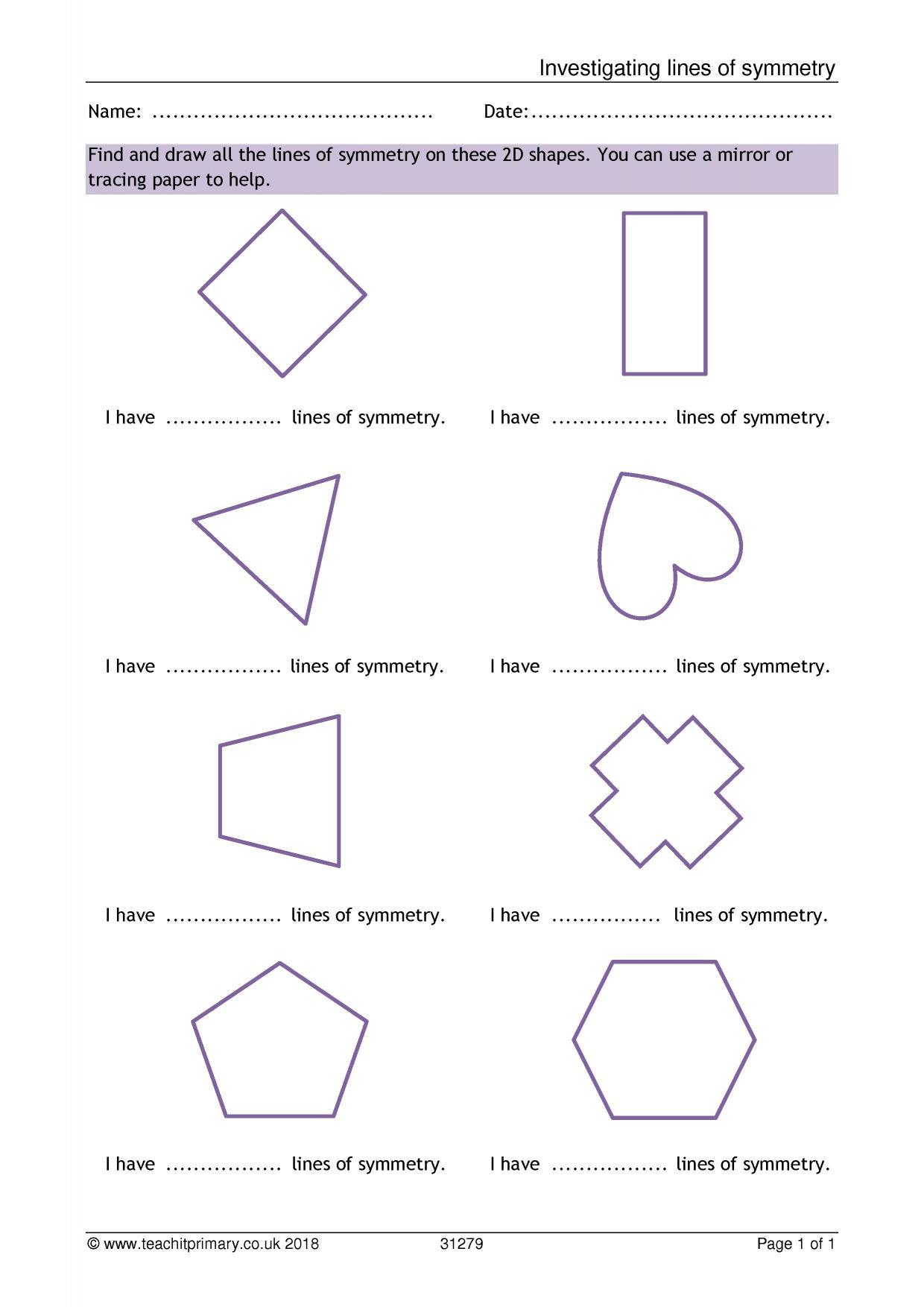 Line Of Symmetry Worksheet Eyfs Ks1 Ks2 Properties Of Shapes – Symmetry
