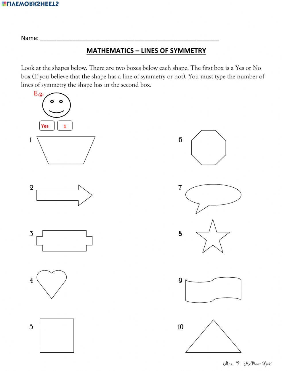 Line Of Symmetry Worksheet Find the Lines Of Symmetry Interactive Worksheet
