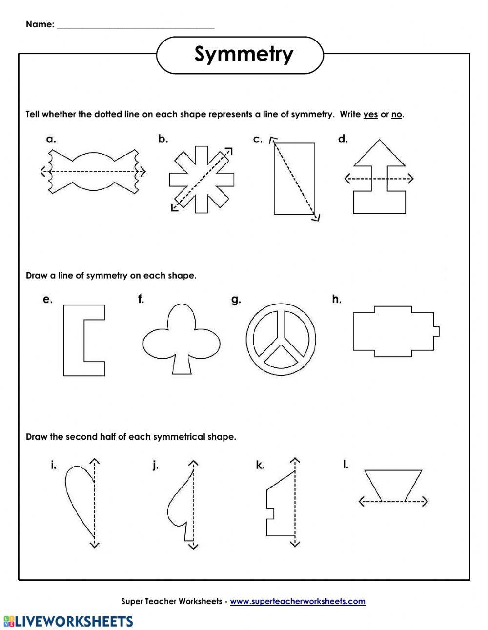 Line Of Symmetry Worksheet Line Of Symmetry Interactive Worksheet