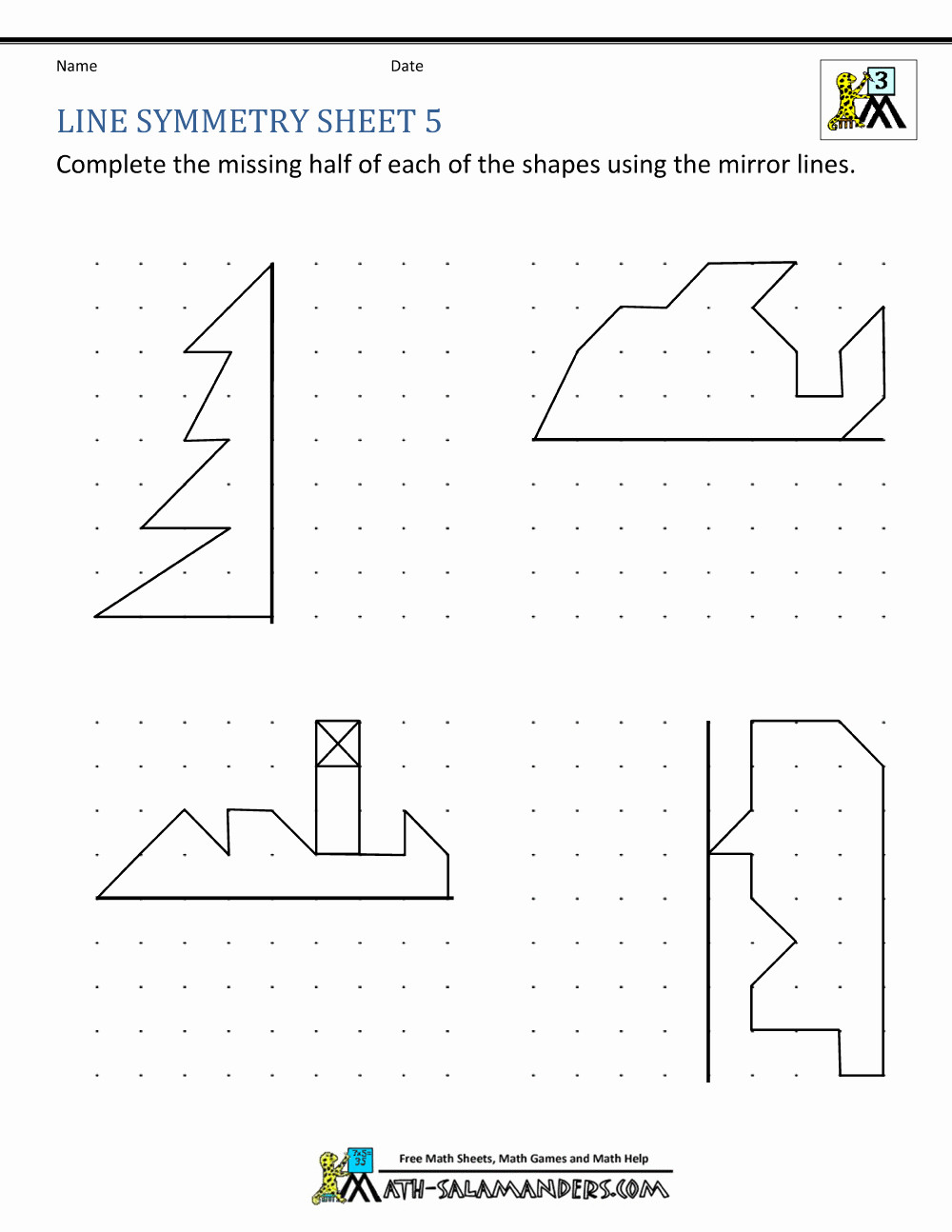 Line Of Symmetry Worksheet Worksheets Lines Symmetry Letters and Numbers