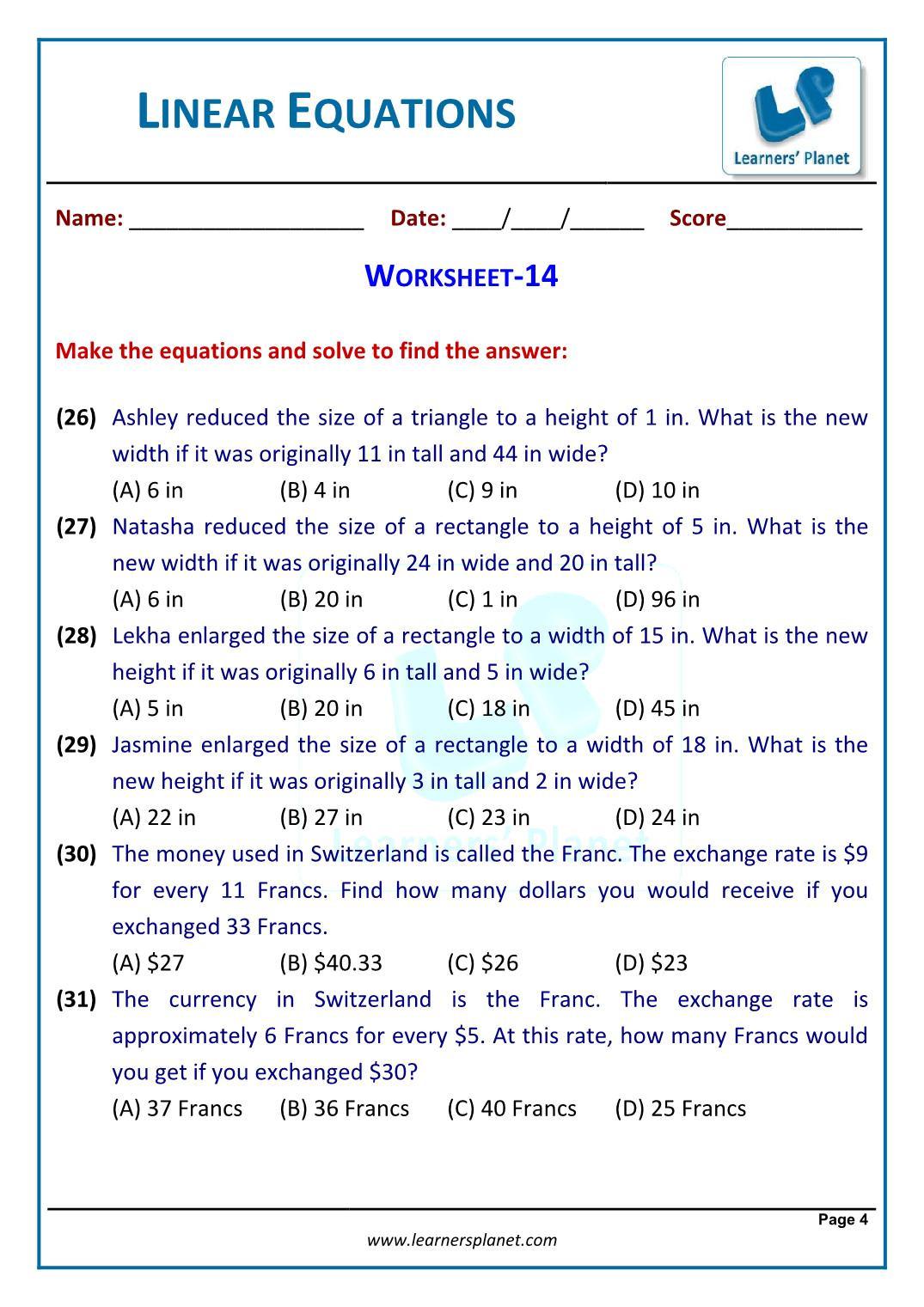 Linear Equation Word Problems Worksheet Grade 7 Linear Equations In One Variable Word Problems
