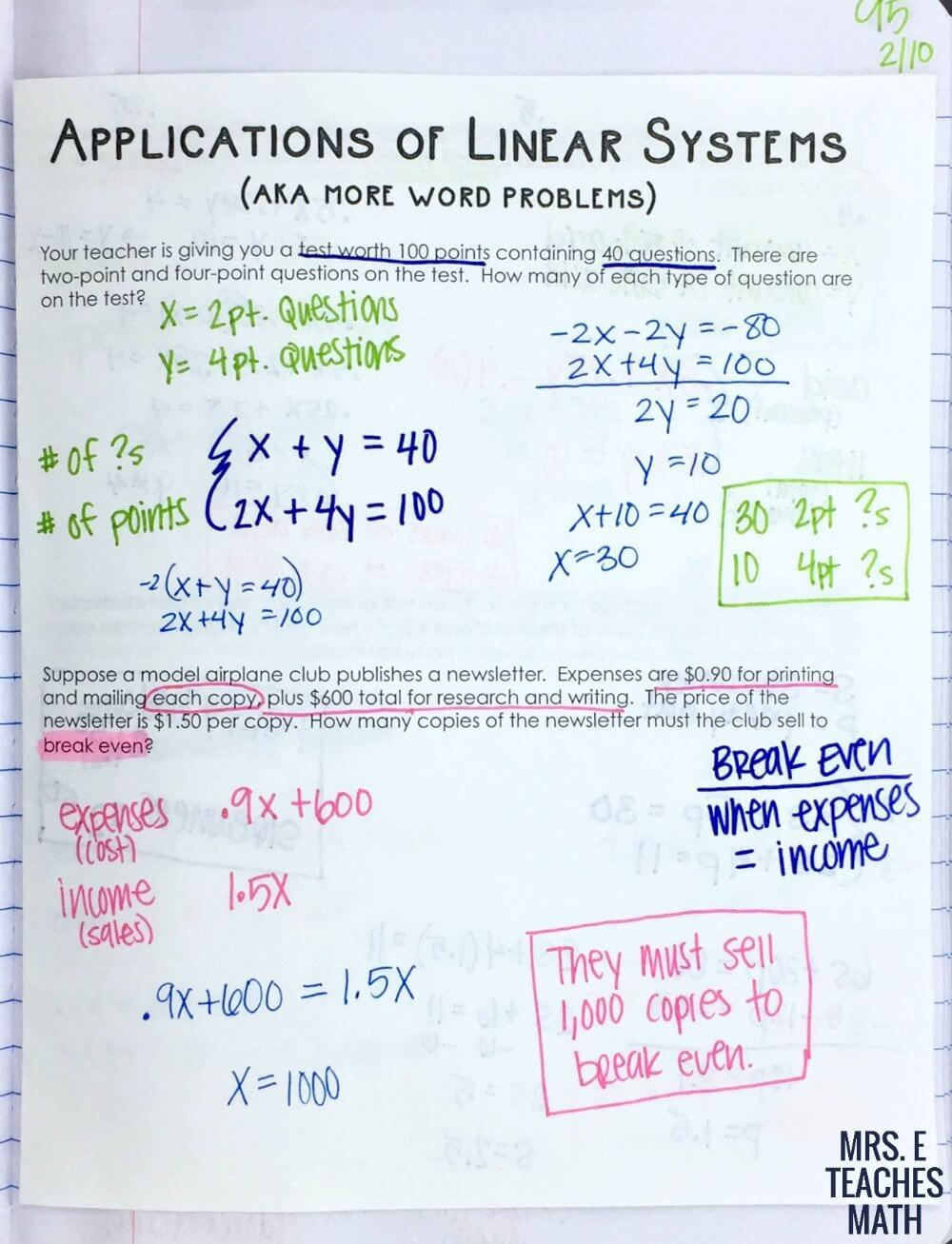 Linear Equation Word Problems Worksheet Systems Of Linear Equations Word Problems Inb Page