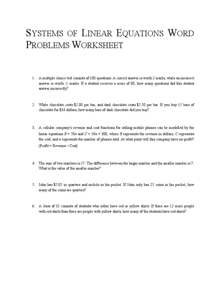 Linear Equation Word Problems Worksheet Systems Of Linear Equations Word Problems Worksheet