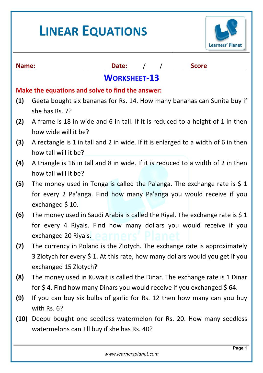 Linear Equation Word Problems Worksheet Worksheet for Linear Equations In One Variable Class 7 Maths