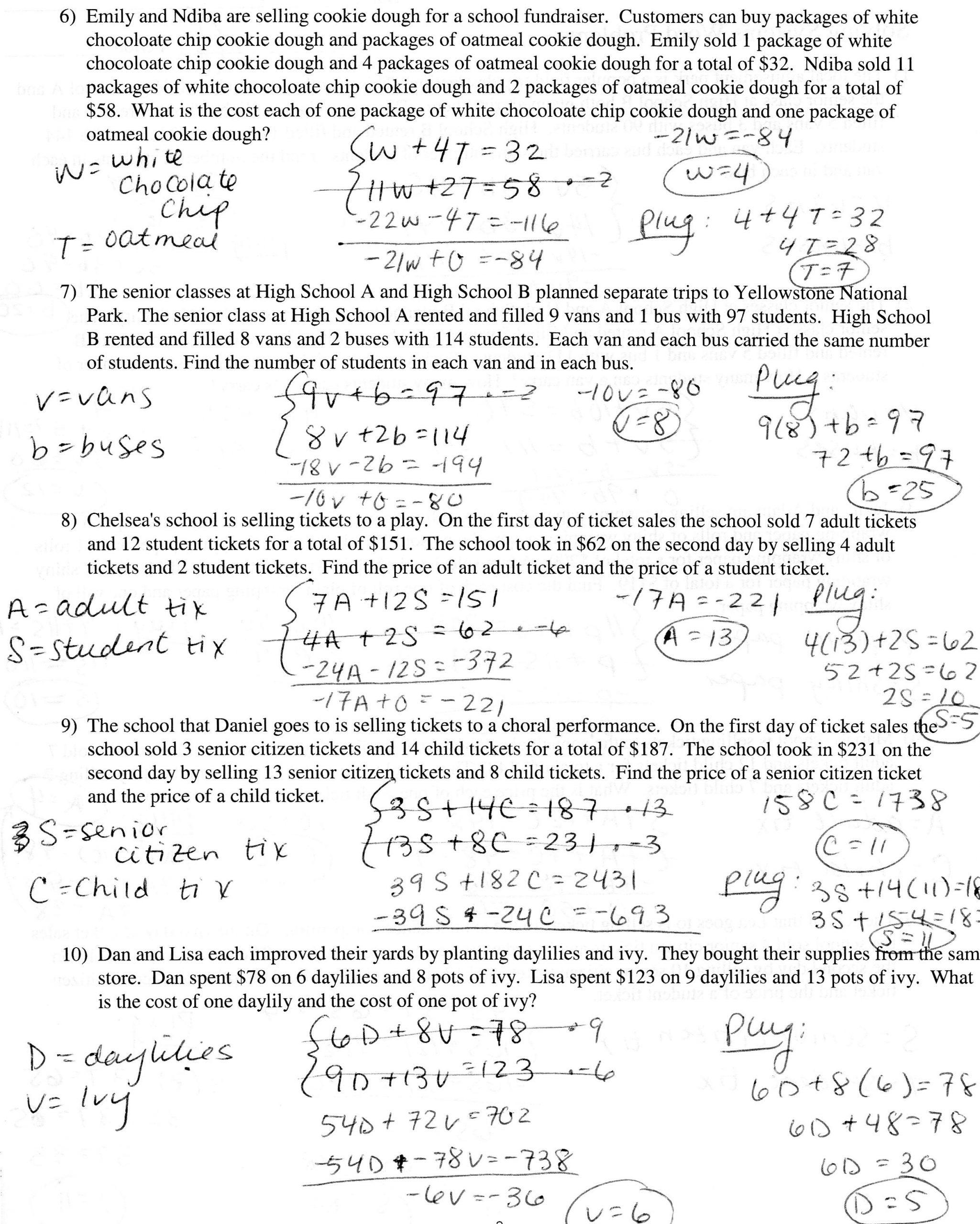 Linear Equation Word Problems Worksheet Writing Linear Equations Worksheet Word Problems