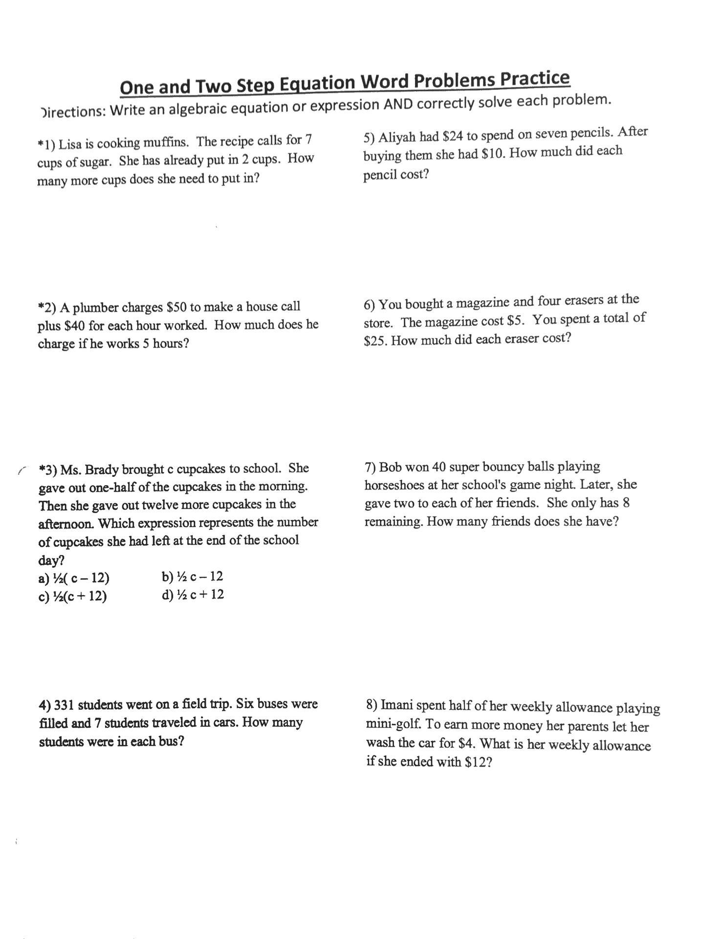 Linear Function Word Problems Worksheet Linear Programming Word Problems Worksheet