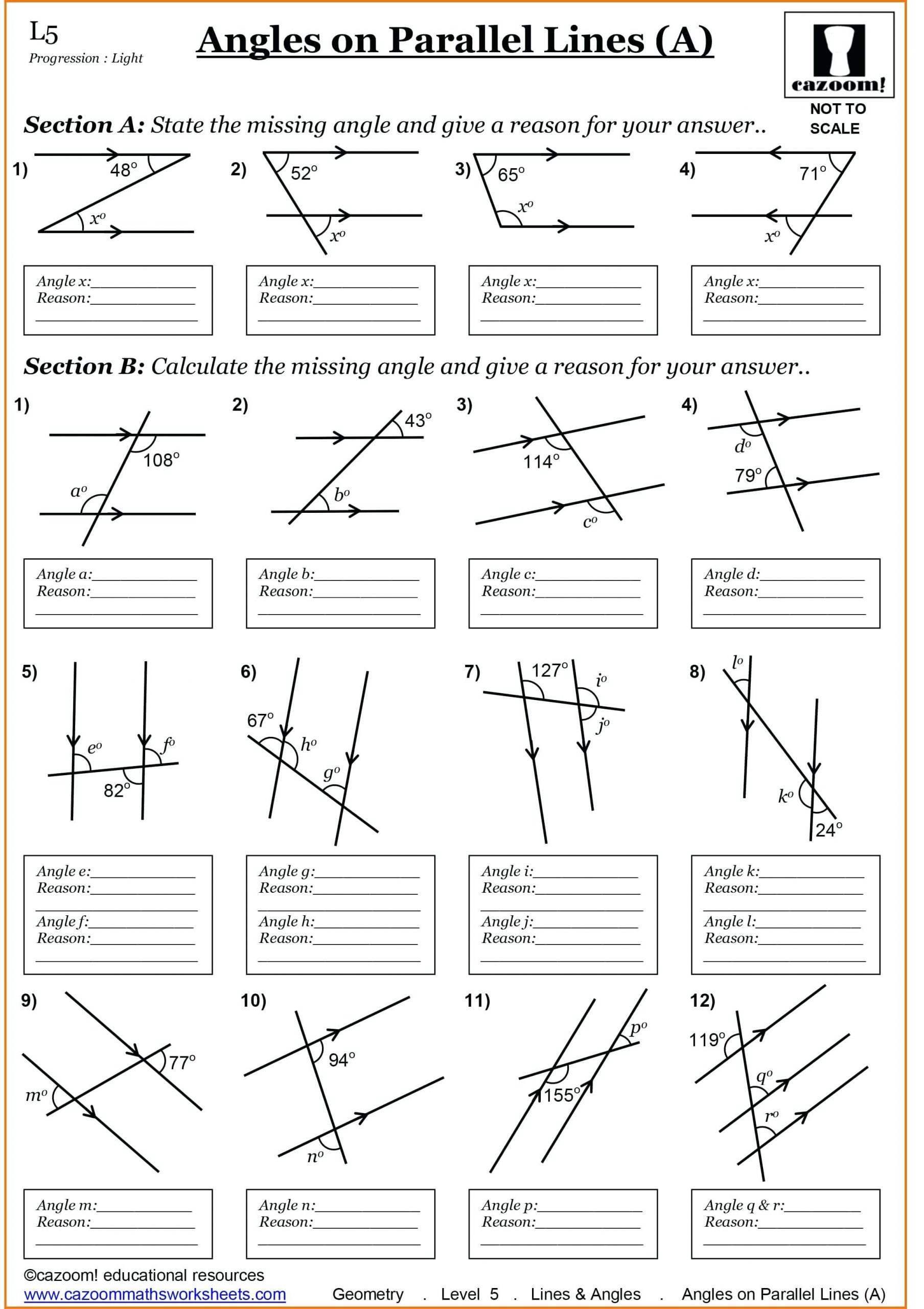 Lines and Angles Worksheet Angles and Parallel Lines Worksheet Promotiontablecovers